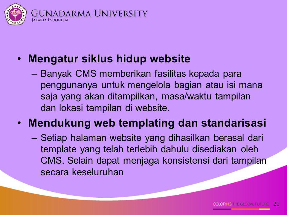 21 Mengatur siklus hidup website –Banyak CMS memberikan fasilitas kepada para penggunanya untuk mengelola bagian atau isi mana saja yang akan ditampil