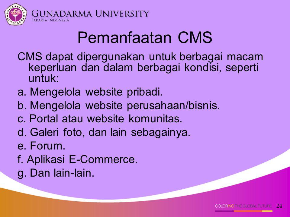 24 Pemanfaatan CMS CMS dapat dipergunakan untuk berbagai macam keperluan dan dalam berbagai kondisi, seperti untuk: a. Mengelola website pribadi. b. M