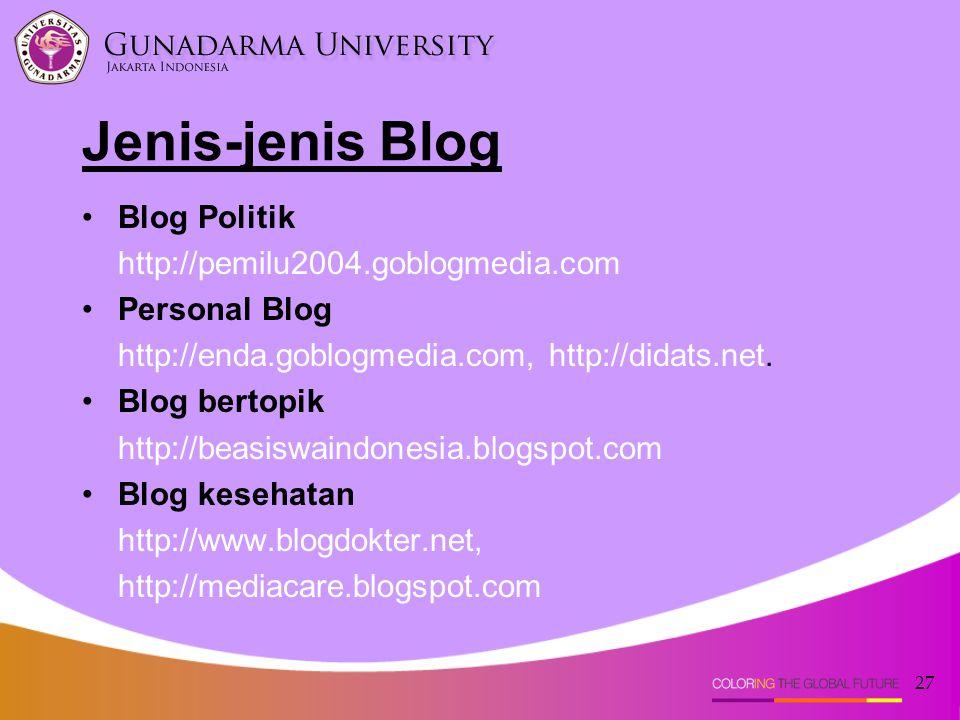 27 Blog Politik http://pemilu2004.goblogmedia.com Personal Blog http://enda.goblogmedia.com, http://didats.net. Blog bertopik http://beasiswaindonesia