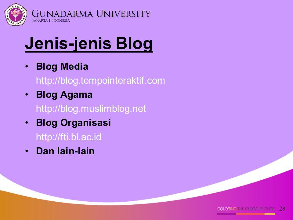 28 Blog Media http://blog.tempointeraktif.com Blog Agama http://blog.muslimblog.net Blog Organisasi http://fti.bl.ac.id Dan lain-lain Jenis-jenis Blog