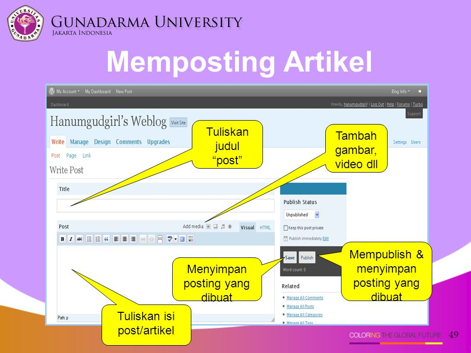 """49 Memposting Artikel Tuliskan judul """"post"""" Tambah gambar, video dll Menyimpan posting yang dibuat Mempublish & menyimpan posting yang dibuat Tuliskan"""