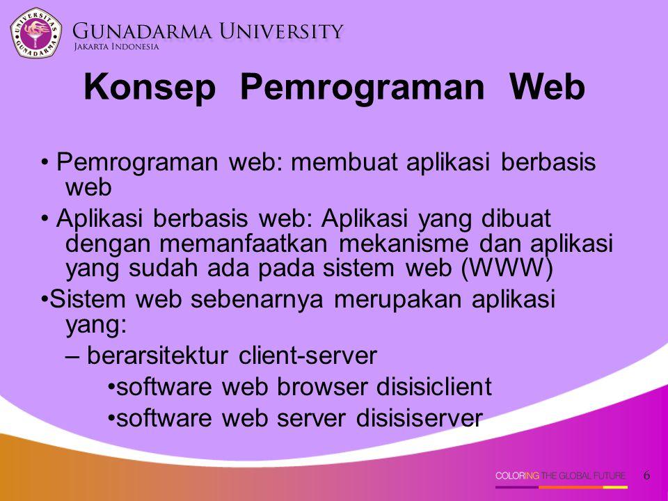 6 Konsep Pemrograman Web Pemrograman web: membuat aplikasi berbasis web Aplikasi berbasis web: Aplikasi yang dibuat dengan memanfaatkan mekanisme dan