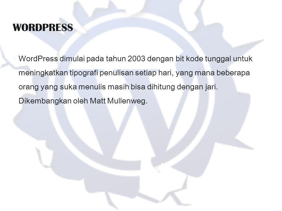 WordPress dimulai pada tahun 2003 dengan bit kode tunggal untuk meningkatkan tipografi penulisan setiap hari, yang mana beberapa orang yang suka menul