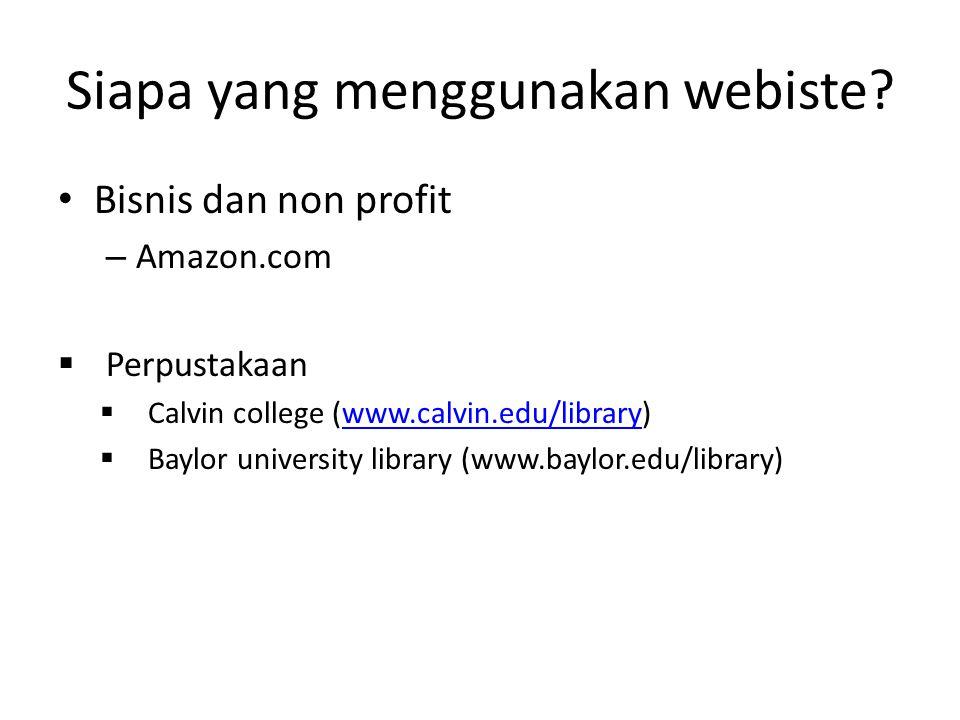 Siapa yang menggunakan webiste.