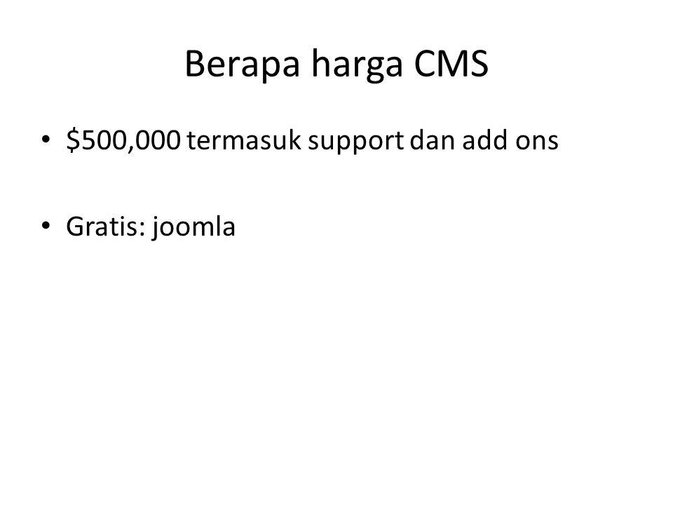 Berapa harga CMS $500,000 termasuk support dan add ons Gratis: joomla