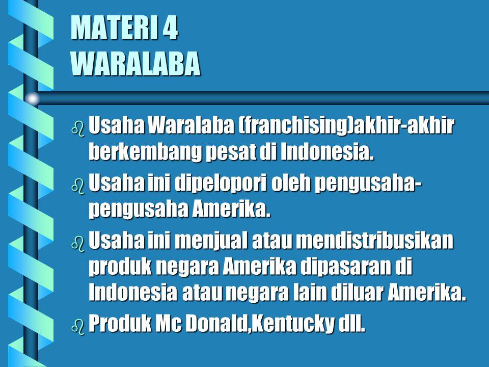 MATERI 4 WARALABA b Usaha Waralaba (franchising)akhir-akhir berkembang pesat di Indonesia. b Usaha ini dipelopori oleh pengusaha- pengusaha Amerika. b