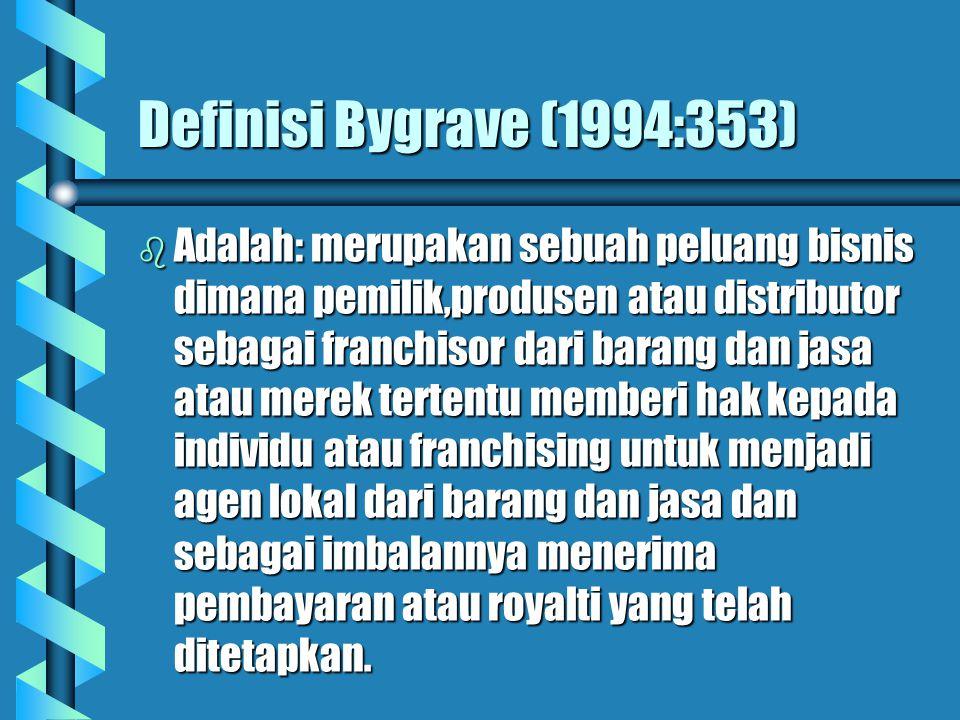 Definisi Bygrave (1994:353) b Adalah: merupakan sebuah peluang bisnis dimana pemilik,produsen atau distributor sebagai franchisor dari barang dan jasa