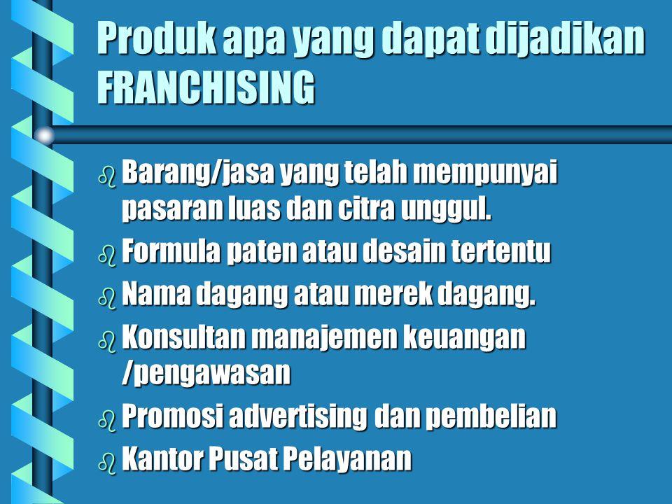 Produk apa yang dapat dijadikan FRANCHISING b Barang/jasa yang telah mempunyai pasaran luas dan citra unggul. b Formula paten atau desain tertentu b N