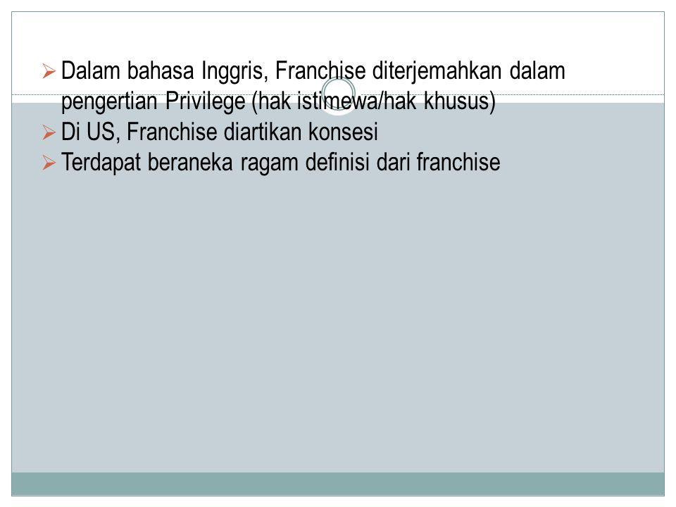  Dalam bahasa Inggris, Franchise diterjemahkan dalam pengertian Privilege (hak istimewa/hak khusus)  Di US, Franchise diartikan konsesi  Terdapat b
