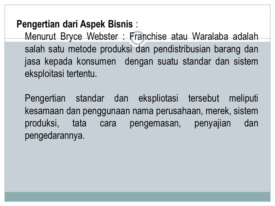 Pengertian dari Aspek Bisnis : Menurut Bryce Webster : Franchise atau Waralaba adalah salah satu metode produksi dan pendistribusian barang dan jasa k