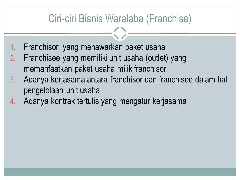 Ciri-ciri Bisnis Waralaba (Franchise) 1. Franchisor yang menawarkan paket usaha 2. Franchisee yang memiliki unit usaha (outlet) yang memanfaatkan pake