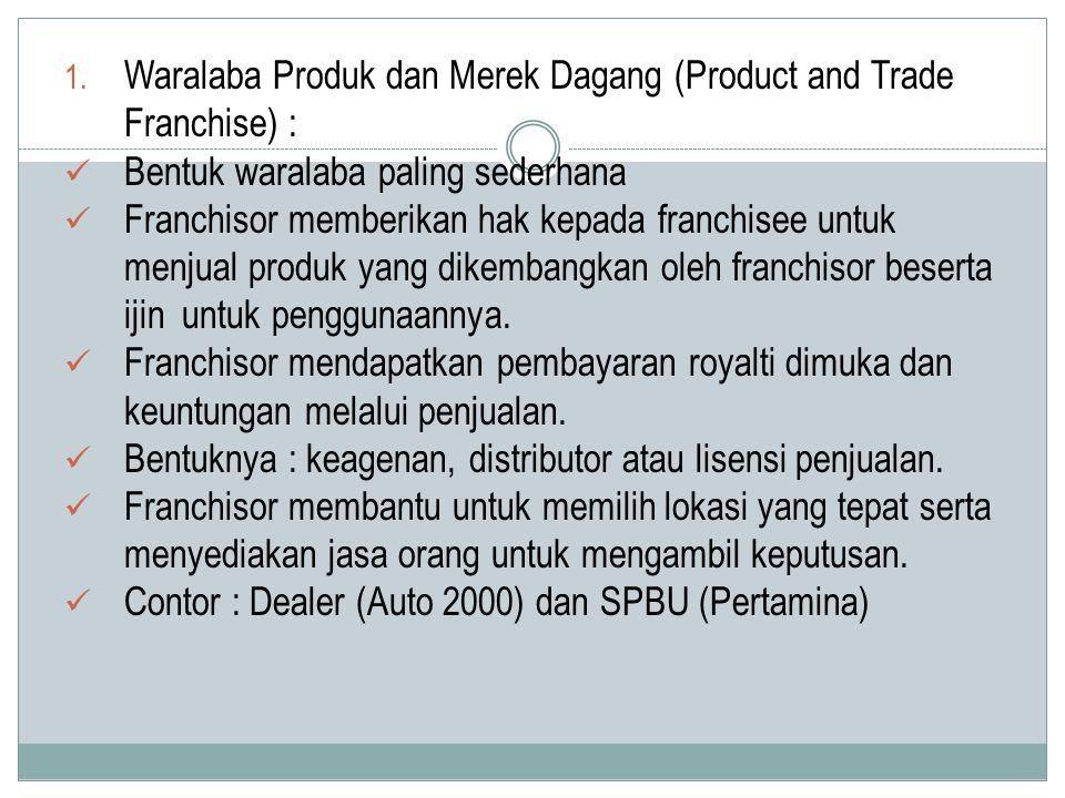 1. Waralaba Produk dan Merek Dagang (Product and Trade Franchise) : Bentuk waralaba paling sederhana Franchisor memberikan hak kepada franchisee untuk