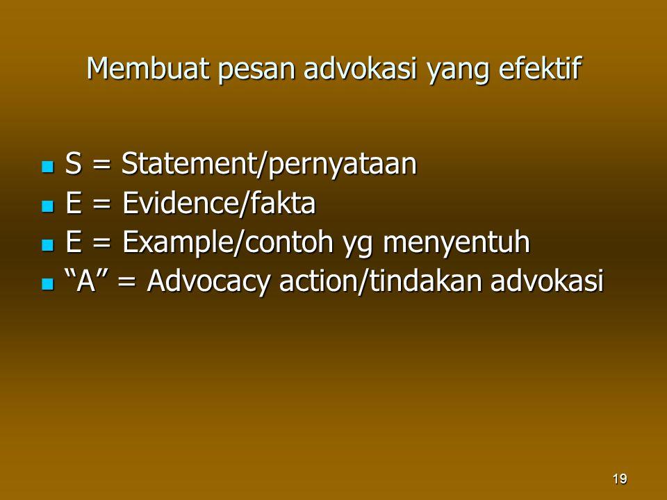 19 Membuat pesan advokasi yang efektif S = Statement/pernyataan S = Statement/pernyataan E = Evidence/fakta E = Evidence/fakta E = Example/contoh yg m