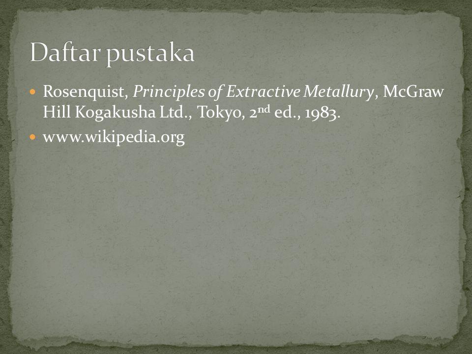 Rosenquist, Principles of Extractive Metallury, McGraw Hill Kogakusha Ltd., Tokyo, 2 nd ed., 1983. www.wikipedia.org