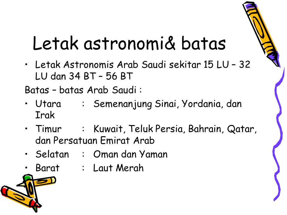 Geografis & Astronomis Arab Saudi terletak di 25 00 U, 45 00 T.