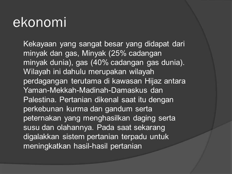 ekonomi Kekayaan yang sangat besar yang didapat dari minyak dan gas, Minyak (25% cadangan minyak dunia), gas (40% cadangan gas dunia). Wilayah ini dah