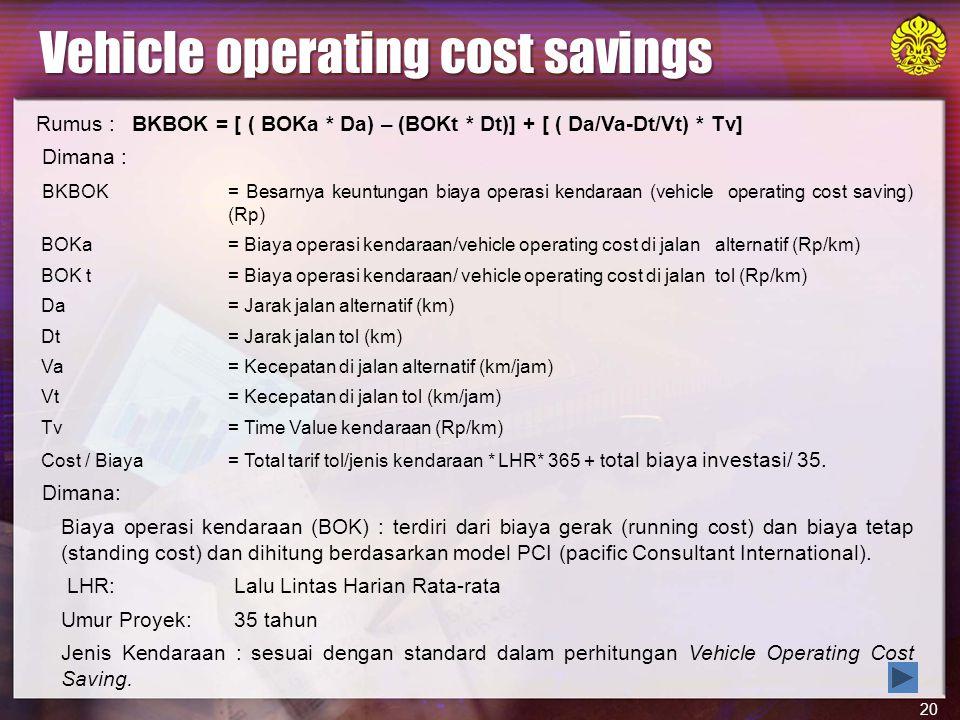 20 Rumus : BKBOK = [ ( BOKa * Da) – (BOKt * Dt)] + [ ( Da/Va-Dt/Vt) * Tv] Dimana : BKBOK= Besarnya keuntungan biaya operasi kendaraan (vehicle operating cost saving) (Rp) BOKa = Biaya operasi kendaraan/vehicle operating cost di jalan alternatif (Rp/km) BOK t= Biaya operasi kendaraan/ vehicle operating cost di jalan tol (Rp/km) Da= Jarak jalan alternatif (km) Dt= Jarak jalan tol (km) Va= Kecepatan di jalan alternatif (km/jam) Vt= Kecepatan di jalan tol (km/jam) Tv= Time Value kendaraan (Rp/km) Cost / Biaya= Total tarif tol/jenis kendaraan * LHR* 365 + t otal biaya investasi/ 35.