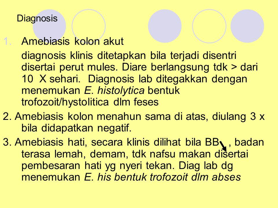 Diagnosis 1.Amebiasis kolon akut diagnosis klinis ditetapkan bila terjadi disentri disertai perut mules. Diare berlangsung tdk > dari 10 X sehari. Dia