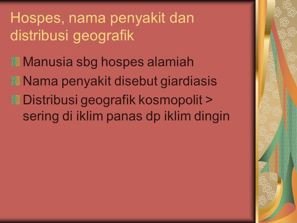 Hospes, nama penyakit dan distribusi geografik Manusia sbg hospes alamiah Nama penyakit disebut giardiasis Distribusi geografik kosmopolit > sering di