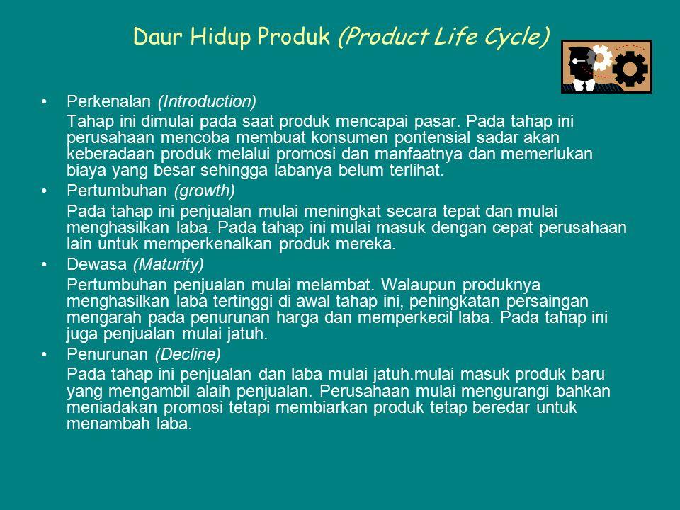 Daur Hidup Produk (Product Life Cycle) Perkenalan (Introduction) Tahap ini dimulai pada saat produk mencapai pasar. Pada tahap ini perusahaan mencoba