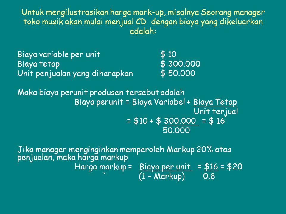 Untuk mengilustrasikan harga mark-up, misalnya Seorang manager toko musik akan mulai menjual CD dengan biaya yang dikeluarkan adalah: Biaya variable p