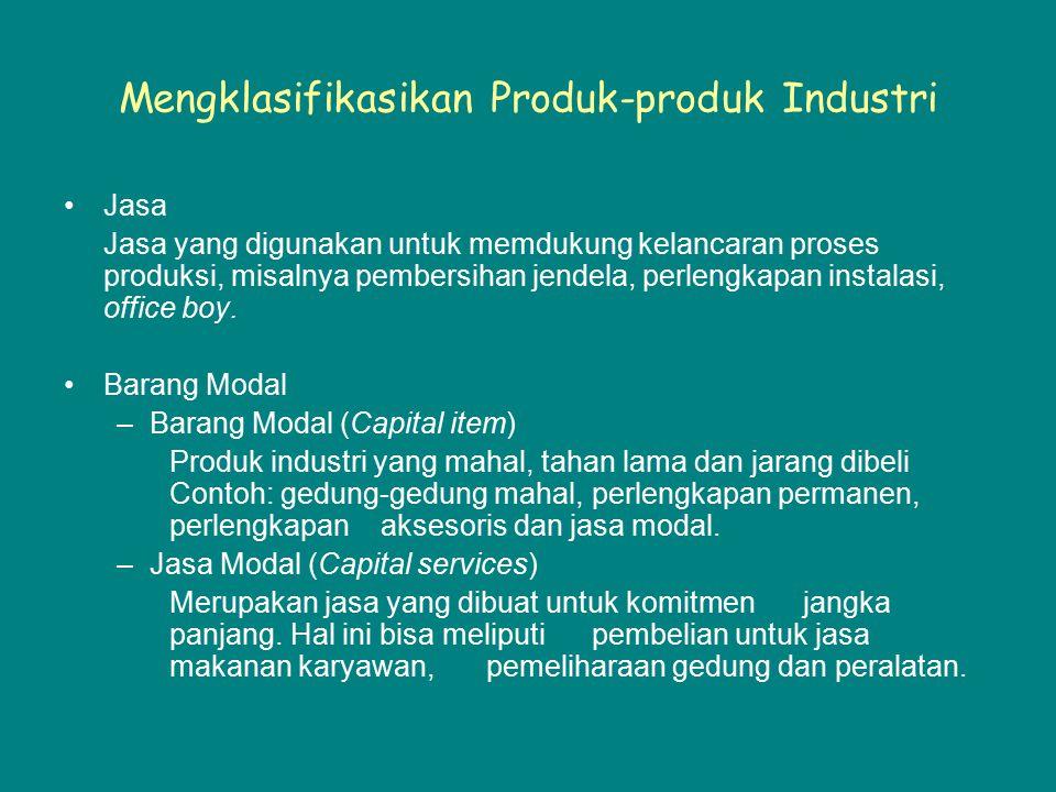 Mengklasifikasikan Produk-produk Industri Jasa Jasa yang digunakan untuk memdukung kelancaran proses produksi, misalnya pembersihan jendela, perlengka
