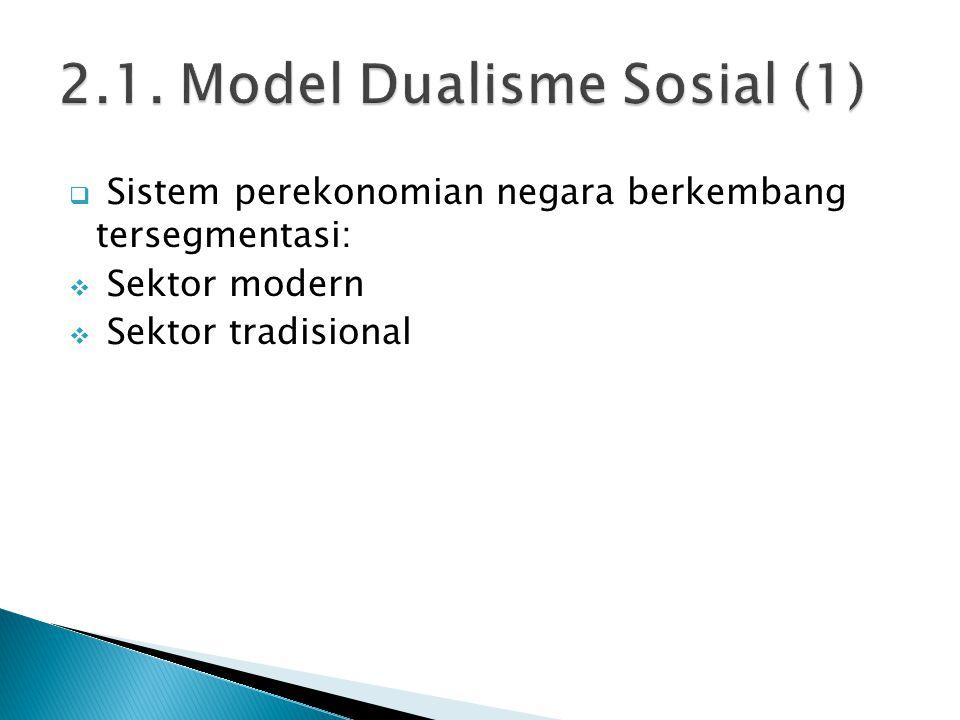  Sistem perekonomian negara berkembang tersegmentasi:  Sektor modern  Sektor tradisional