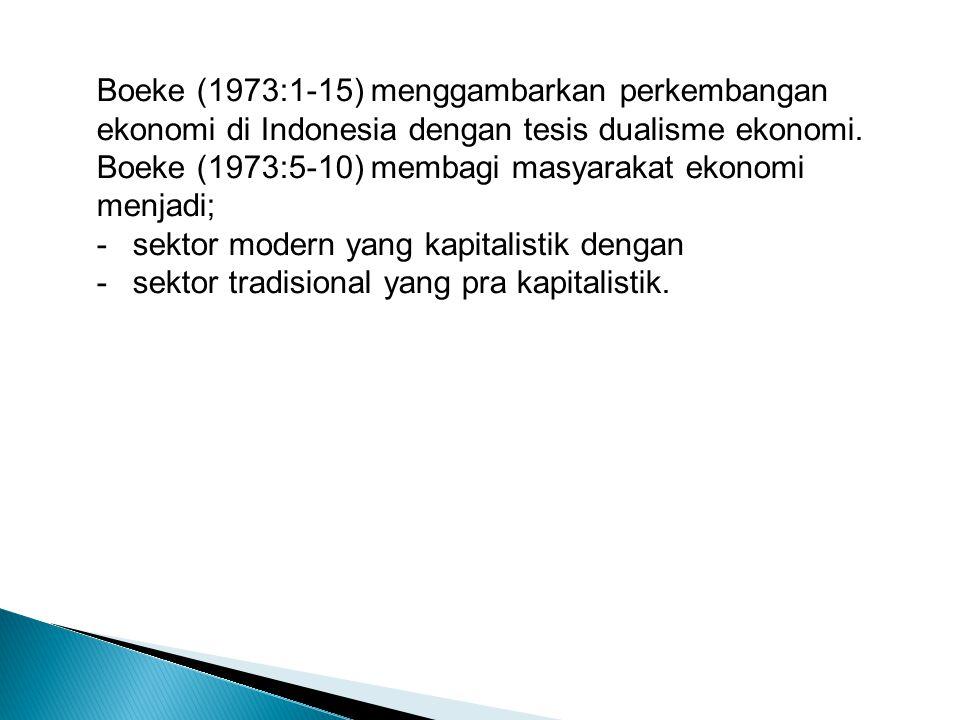 Boeke (1973:1-15) menggambarkan perkembangan ekonomi di Indonesia dengan tesis dualisme ekonomi. Boeke (1973:5-10) membagi masyarakat ekonomi menjadi;