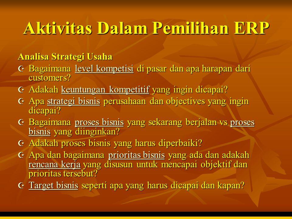 Aktivitas Dalam Pemilihan ERP Analisa Strategi Usaha  Bagaimana level kompetisi di pasar dan apa harapan dari customers? level kompetisilevel kompeti