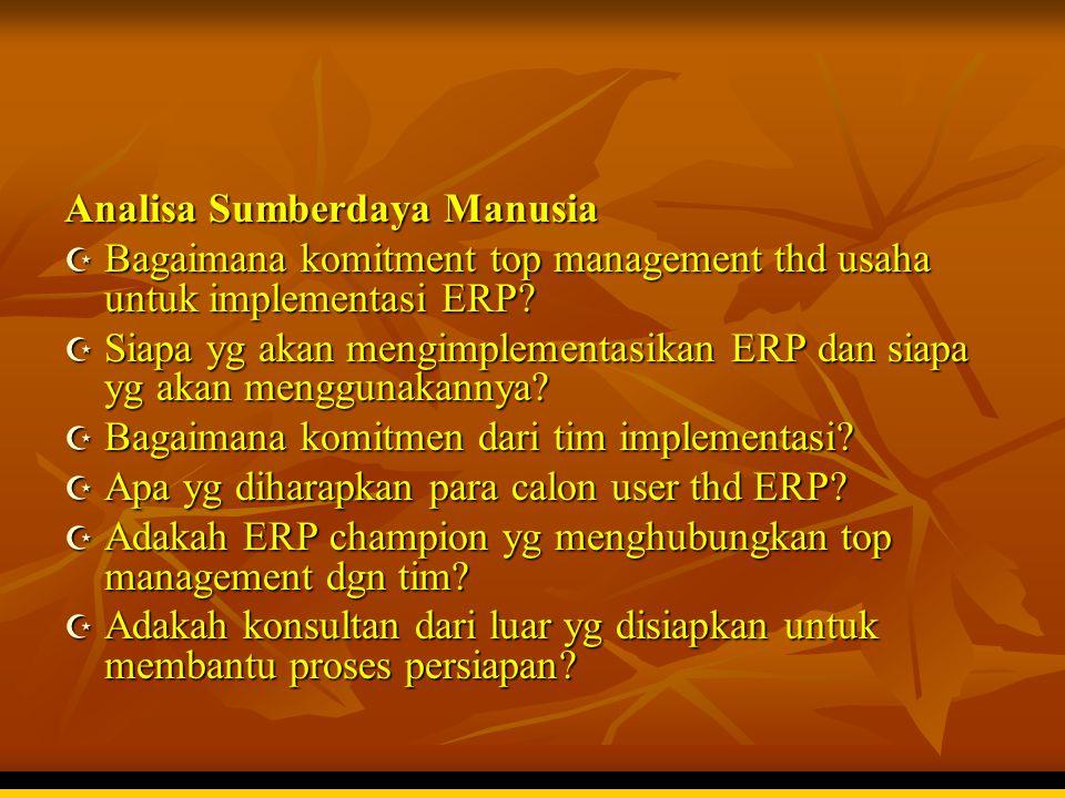 Analisa Sumberdaya Manusia  Bagaimana komitment top management thd usaha untuk implementasi ERP?  Siapa yg akan mengimplementasikan ERP dan siapa yg