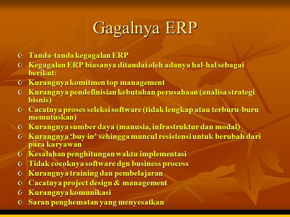 Gagalnya ERP  Tanda-tanda kegagalan ERP  Kegagalan ERP biasanya ditandai oleh adanya hal-hal sebagai berikut:  Kurangnya komitmen top management 