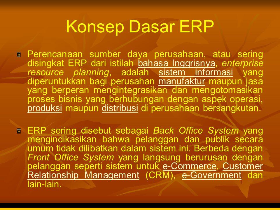 Konsep Dasar ERP Perencanaan sumber daya perusahaan, atau sering disingkat ERP dari istilah bahasa Inggrisnya, enterprise resource planning, adalah si