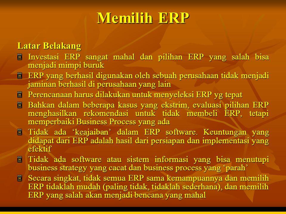 Memilih ERP Latar Belakang Investasi ERP sangat mahal dan pilihan ERP yang salah bisa menjadi mimpi buruk ERP yang berhasil digunakan oleh sebuah peru