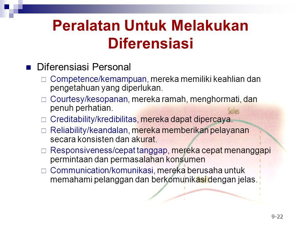9-22 Peralatan Untuk Melakukan Diferensiasi Diferensiasi Personal  Competence/kemampuan, mereka memiliki keahlian dan pengetahuan yang diperlukan.