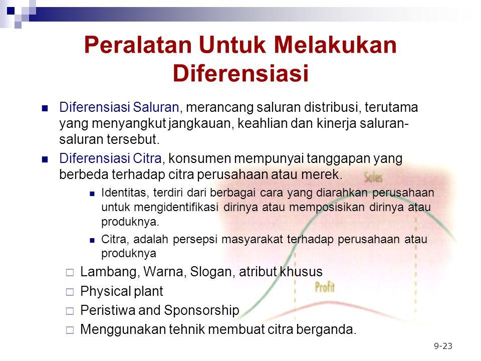 9-23 Peralatan Untuk Melakukan Diferensiasi Diferensiasi Saluran, merancang saluran distribusi, terutama yang menyangkut jangkauan, keahlian dan kinerja saluran- saluran tersebut.