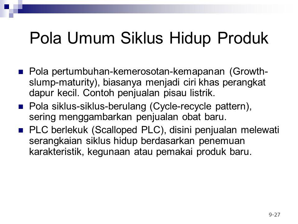 9-27 Pola Umum Siklus Hidup Produk Pola pertumbuhan-kemerosotan-kemapanan (Growth- slump-maturity), biasanya menjadi ciri khas perangkat dapur kecil.