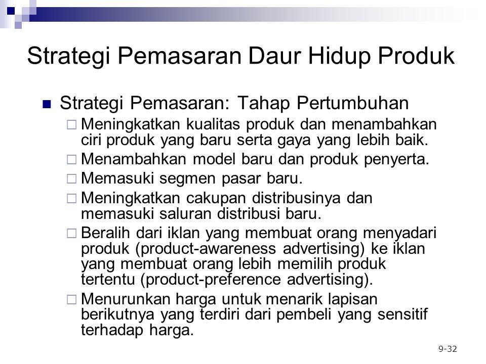 9-32 Strategi Pemasaran: Tahap Pertumbuhan  Meningkatkan kualitas produk dan menambahkan ciri produk yang baru serta gaya yang lebih baik.