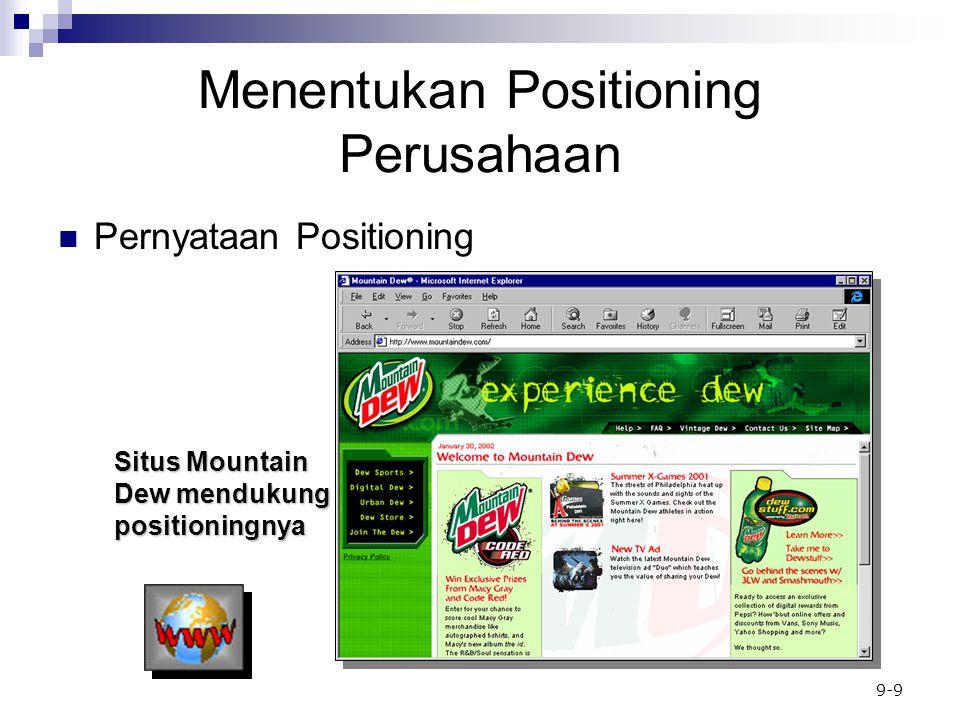 9-9 Menentukan Positioning Perusahaan Pernyataan Positioning Situs Mountain Dew mendukung positioningnya