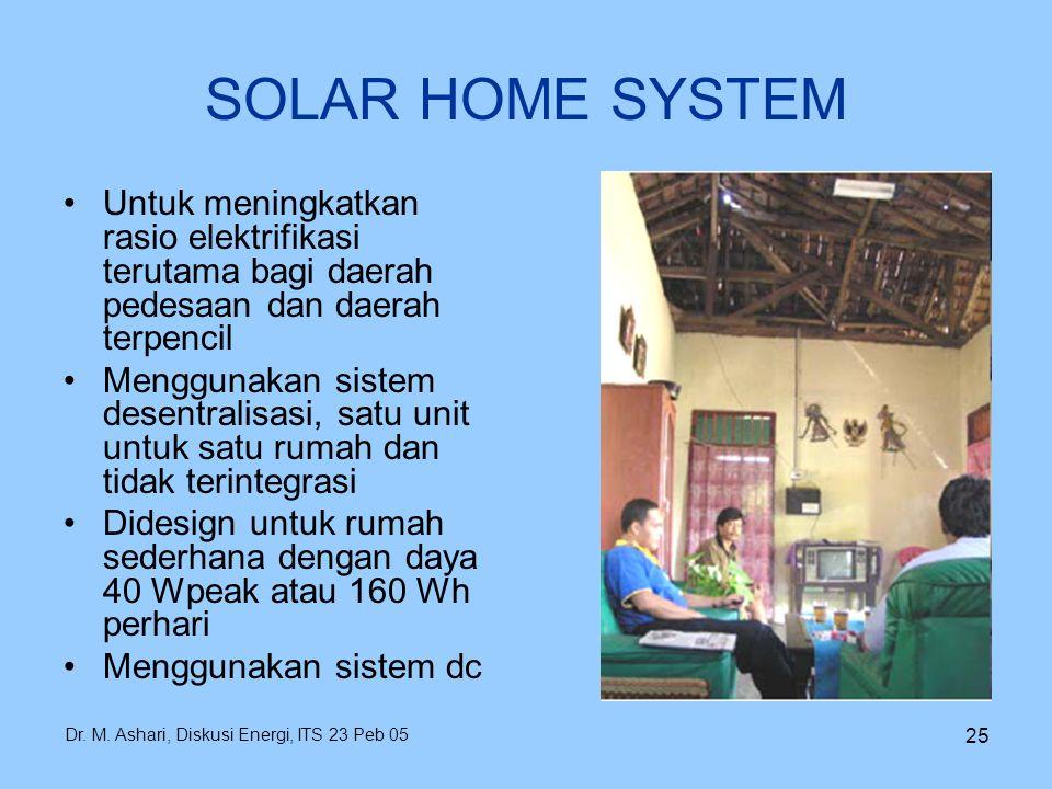 Dr. M. Ashari, Diskusi Energi, ITS 23 Peb 05 25 SOLAR HOME SYSTEM Untuk meningkatkan rasio elektrifikasi terutama bagi daerah pedesaan dan daerah terp