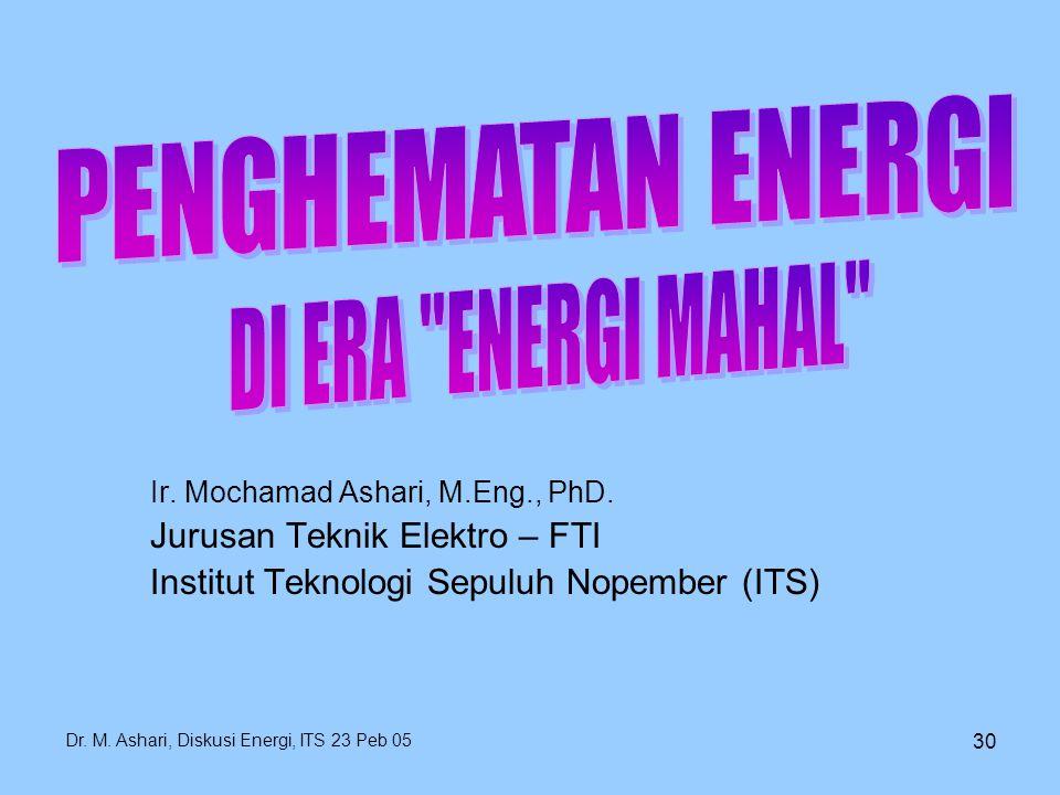 Dr. M. Ashari, Diskusi Energi, ITS 23 Peb 05 30 Ir. Mochamad Ashari, M.Eng., PhD. Jurusan Teknik Elektro – FTI Institut Teknologi Sepuluh Nopember (IT