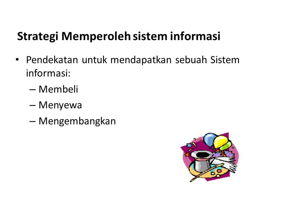 Pendekatan untuk mendapatkan sebuah Sistem informasi: – Membeli – Menyewa – Mengembangkan Strategi Memperoleh sistem informasi