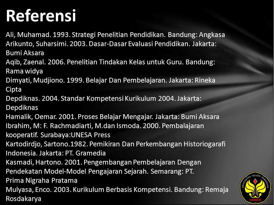 Referensi Ali, Muhamad. 1993. Strategi Penelitian Pendidikan. Bandung: Angkasa Arikunto, Suharsimi. 2003. Dasar-Dasar Evaluasi Pendidikan. Jakarta: Bu