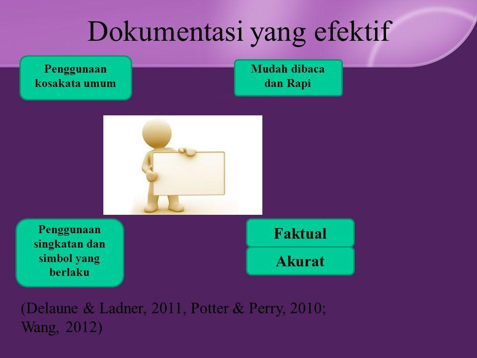 Dokumentasi yang efektif Penggunaan kosakata umum Penggunaan singkatan dan simbol yang berlaku Mudah dibaca dan Rapi Akurat Faktual (Delaune & Ladner, 2011, Potter & Perry, 2010; Wang, 2012)