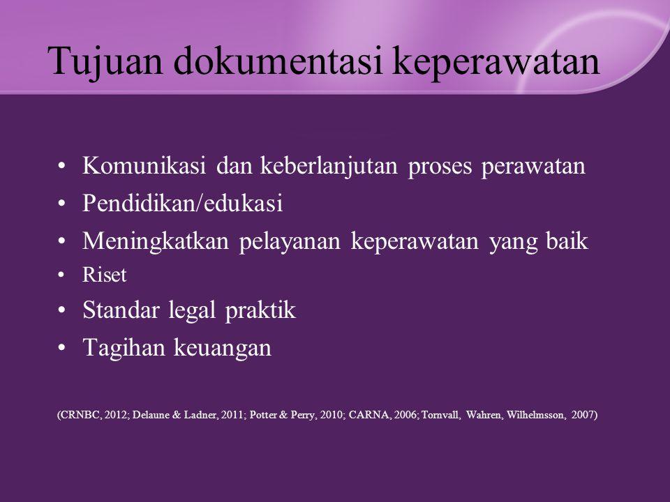 Tujuan dokumentasi keperawatan Komunikasi dan keberlanjutan proses perawatan Pendidikan/edukasi Meningkatkan pelayanan keperawatan yang baik Riset Standar legal praktik Tagihan keuangan (CRNBC, 2012; Delaune & Ladner, 2011; Potter & Perry, 2010; CARNA, 2006; Tornvall, Wahren, Wilhelmsson, 2007)