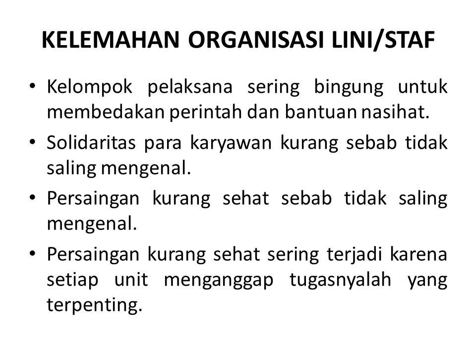 KELEMAHAN ORGANISASI LINI/STAF Kelompok pelaksana sering bingung untuk membedakan perintah dan bantuan nasihat. Solidaritas para karyawan kurang sebab