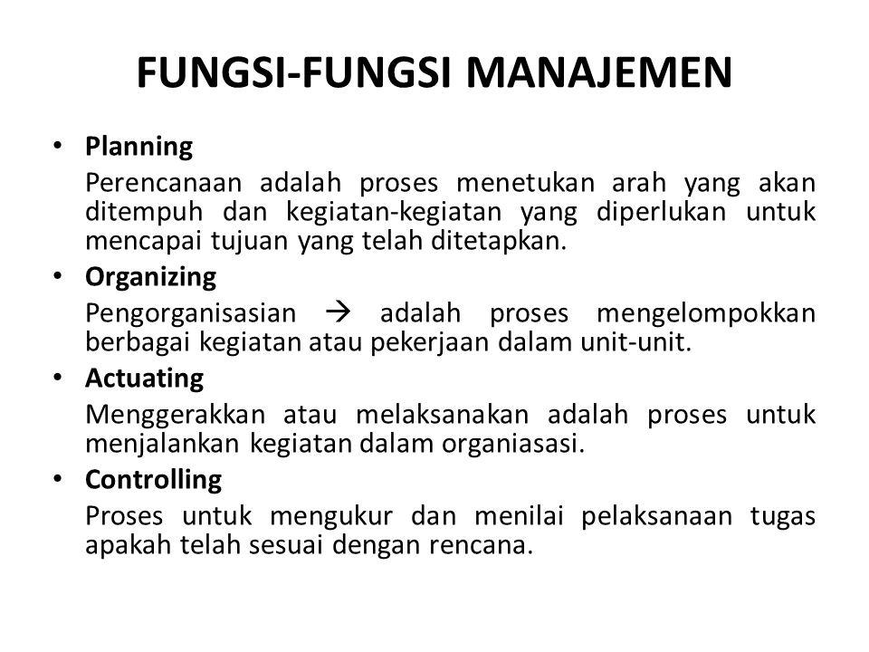 FUNGSI-FUNGSI MANAJEMEN Planning Perencanaan adalah proses menetukan arah yang akan ditempuh dan kegiatan-kegiatan yang diperlukan untuk mencapai tuju