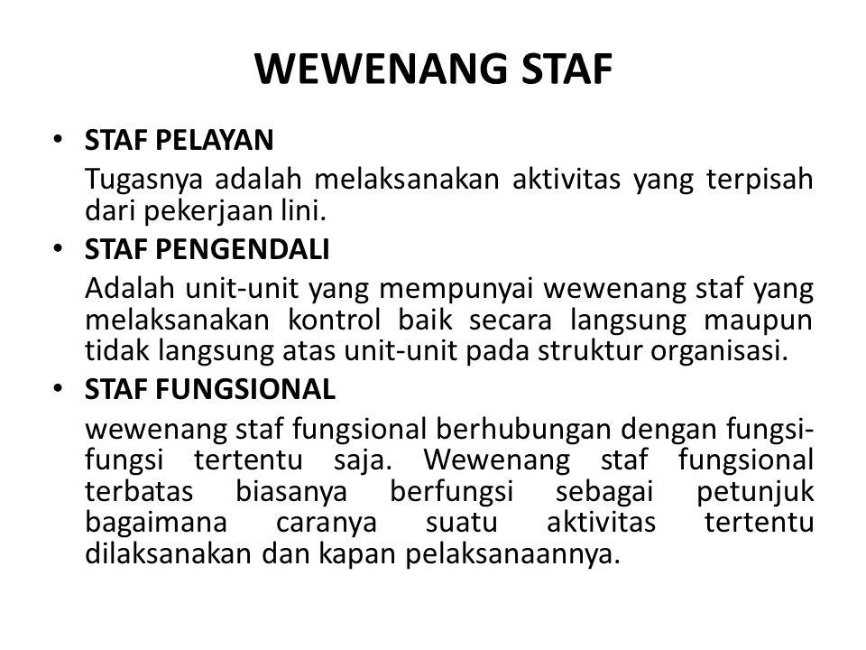WEWENANG STAF STAF PELAYAN Tugasnya adalah melaksanakan aktivitas yang terpisah dari pekerjaan lini. STAF PENGENDALI Adalah unit-unit yang mempunyai w