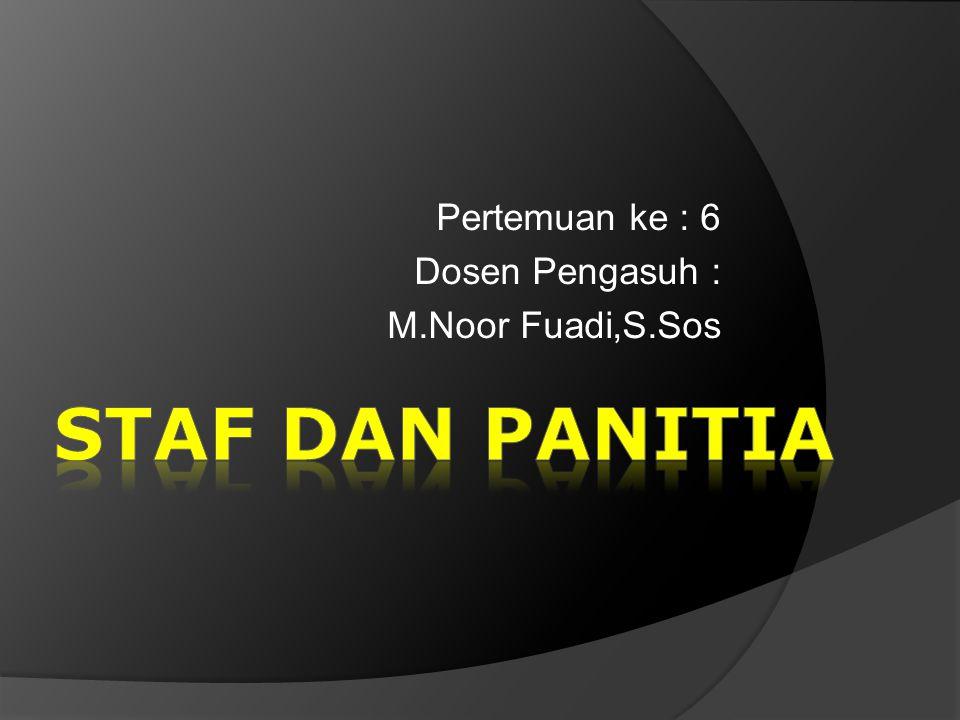 Pertemuan ke : 6 Dosen Pengasuh : M.Noor Fuadi,S.Sos