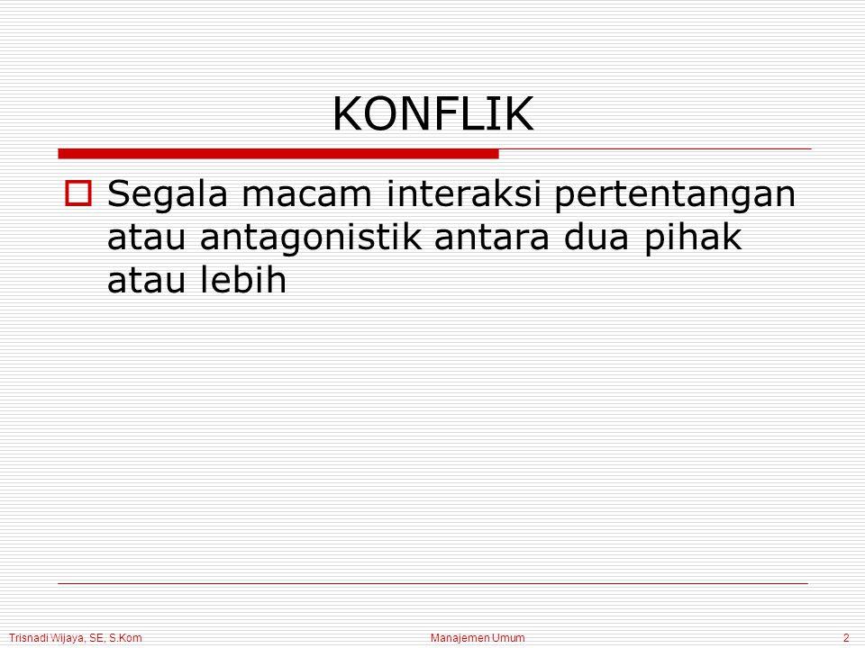 Trisnadi Wijaya, SE, S.Kom Manajemen Umum13 2.Pandangan Staf  Lini kurang memanfaatkan staf  Lini menolak gagasan baru  Lini memberi wewenang terlalu kecil kepada staf KONFLIK LINI DAN STAF