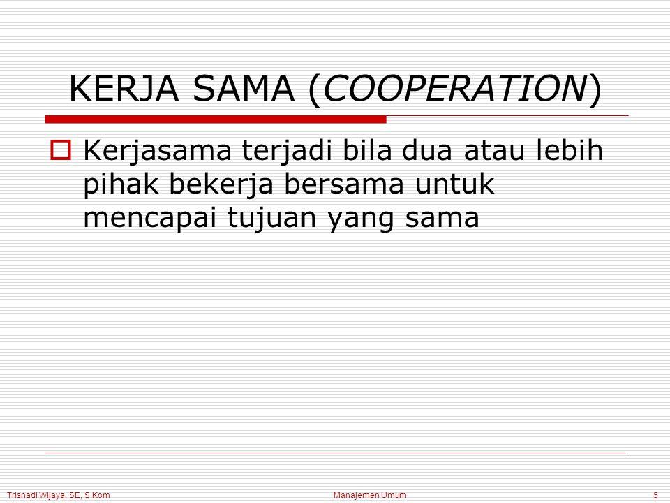Trisnadi Wijaya, SE, S.Kom Manajemen Umum6 JENIS-JENIS KONFLIK 1.Konflik dalam diri individu 2.Konflik antara individu 3.Konflik antara individu dan kelompok 4.Konflik antar kelompok dalam organisasi yang sama 5.Konflik antara organisasi